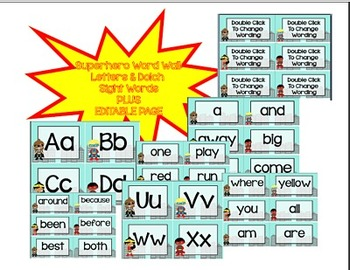 Suphero Word Wall: Letters and ALL 220 DOLCH Sight Words *