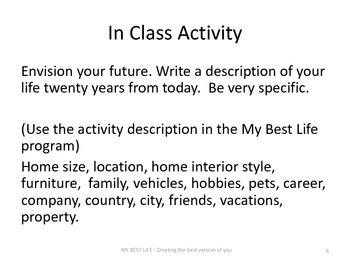 (Supplement 1) Presentation Slides for MyBestLife Lessons One through Six