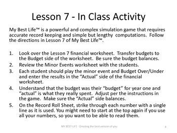 (Supplement 2) Presentation Slides for MyBestLife Lessons Seven through Fifteen