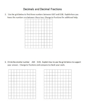 """Supplement for """"Decimal and Fractions using decimal grids"""""""