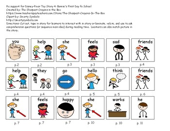 Supplemental Core Vocabulary Pictures-Toy Story 4: Bonnie's First Day of School
