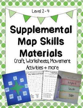 Supplemental Map Skills Materials: Craft, Worksheets, Movement Activities + more