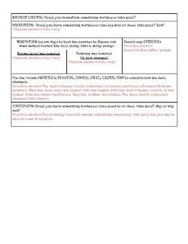 Supplemental Notes for Mystery Science: Chemical Magic (with answer key)