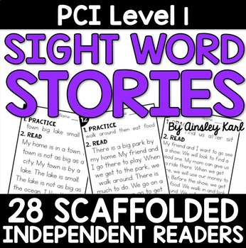 Special Education - Reading Practice Short Stories for PCI Level 1 Sight Words