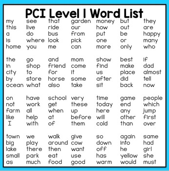 Special Education - Reading Practice Worksheets for PCI Level 1 Sight Words