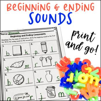 Beginning And Ending Sounds Worksheets By Kinder Pals Tpt