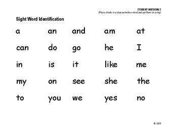Supplemental Student Materials for Kindergarten Skills Progress Monitoring