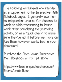 Supplemental Worksheets for the Place Value Interactive Notebook-4th Grade TEKS
