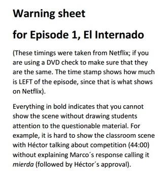 Supplemental materials for episode 1, El Internado