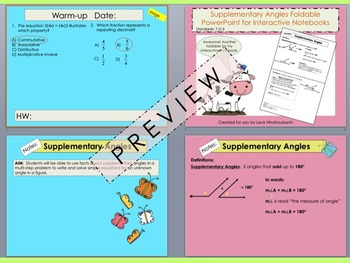 Supplementary Angles Foldable PowerPoint for Interactive Notebooks