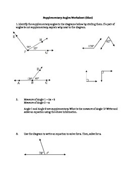 Supplementary Angles Tiered Worksheets