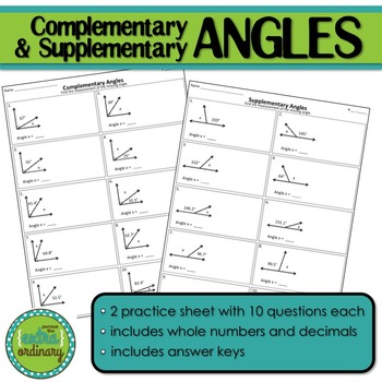 Supplementary & Complementary Angle Practice