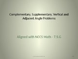 Supplementary, Complementary, Verticle, Adjacent Angle PowerPoint - 7.G.5