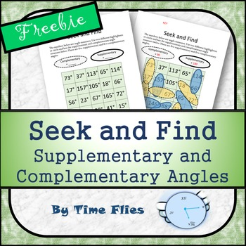 Supplementary and Complementary Angles - Seek and Find Activity