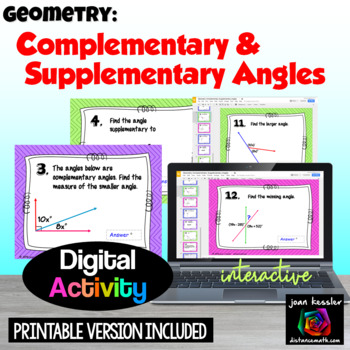 Supplementary and Complementary Angles with GOOGLE Slides
