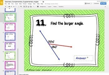Supplementary and Complementary Angles with GOOGLE Slides™ Distance Learning