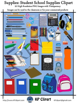 Supplies Back to School Student Supplies Clipart