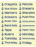 """Supplies Drawer Labels in Polka Dot Anchor theme - 4""""x1"""""""