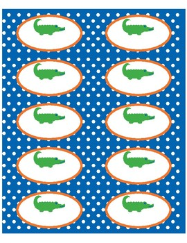 """Supplies Drawer Labels in Preppy Gator theme - 4""""x2"""""""