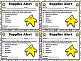 Supplies Needed Alert - Note for Parents  - Superstar Theme - King Virtue