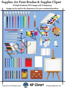 Supplies Paint Brushes and Art Supplies Clipart