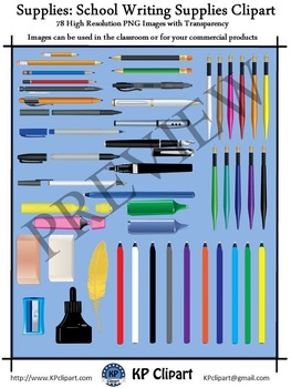 Supplies School Writing Instruments Clipart