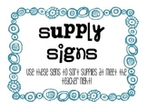Supply Signs for Meet the Teacher