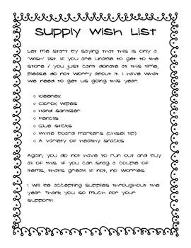 Supplies Wish List