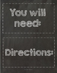 Supplies and Direction Cards - Chalkboard and Brights