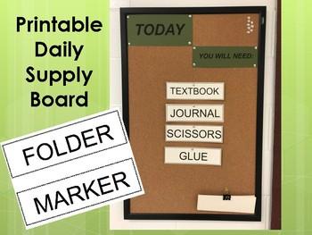 Supplies needed board