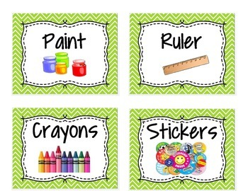 Supplies needed visual for White Board or Bins