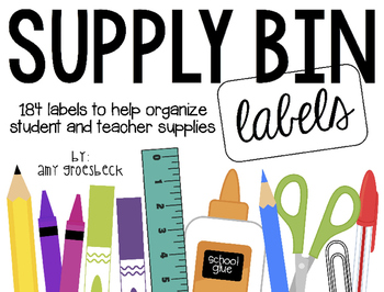 Supply Bin Labels - Black and White Backgrounds