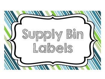 Supply Bin Labels FREEBIE