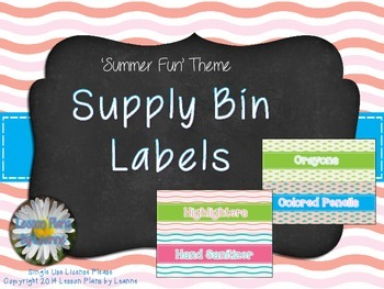 Supply Bin Labels (Summer Fun colors)  Back To School
