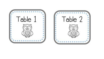 Supply Bin Labels for Tables