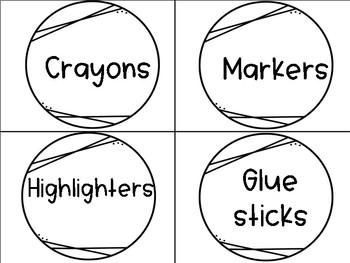 Supply Bin Labels in black&white