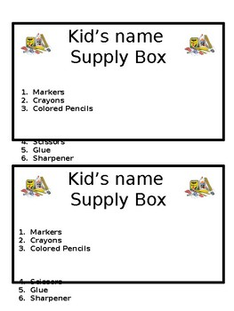 Supply Box Labels!