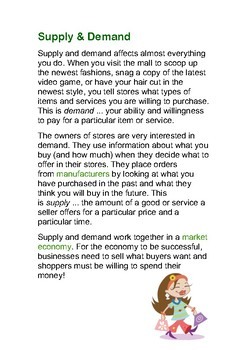 Comprehensive Reading: Supply & Demand with questions