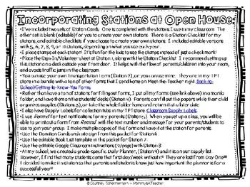 Open House/Meet-the-Teacher EDITABLE Stations Toolkit