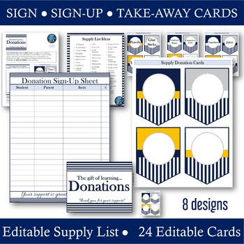 Supply Donations: Navy Signs -- Sign-Up -- Wish List Pennant Take-away Cards