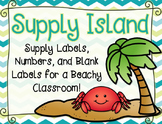 Beach Theme Classroom Supply Labels: Supply Island