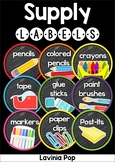 Classroom Supply Labels: Chalkboard and White Background