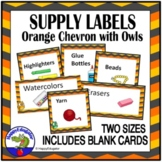 Classroom Supply Labels with Pictures - Chevron and Owls EDITABLE