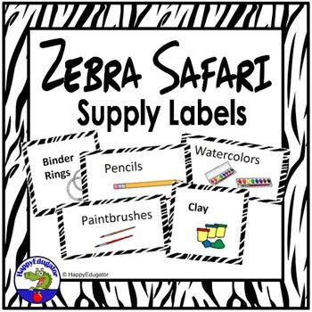 Zebra Print Supply Labels for Back to School