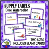 Editable Classroom Supply Labels with Pictures Blue and White Watercolor Theme