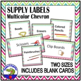 Classroom Supply Labels with Pictures Chevron Multicolor EDITABLE
