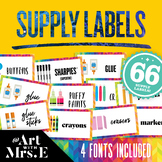 Art Supply Labels    4 Different Font Options + Blank Templates