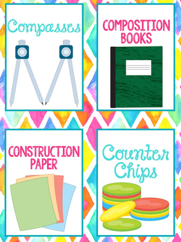 Supply Labels 90+ Bright and Bold Themed | Classroom Decor for Classrooms