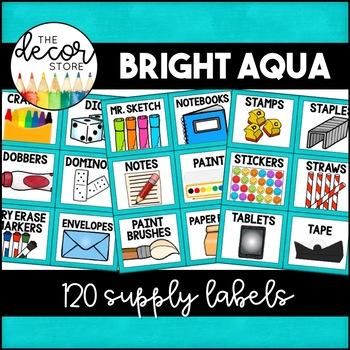Supply Labels: Aqua   Classroom Decor
