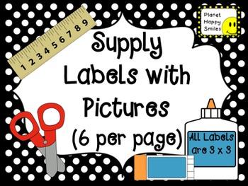 Supply Labels ~ Black and White Polka Dot (EDITABLE)